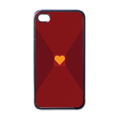 Heart Red Yellow Love Card Design Apple Iphone 4 Case (black)