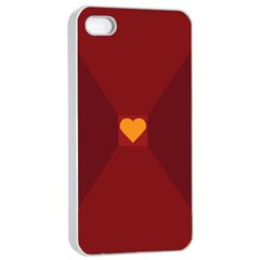 Heart Red Yellow Love Card Design Apple iPhone 4/4s Seamless Case (White)