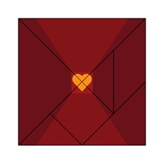 Heart Red Yellow Love Card Design Acrylic Tangram Puzzle (6  X 6 )