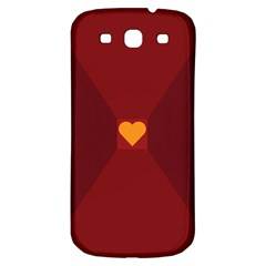 Heart Red Yellow Love Card Design Samsung Galaxy S3 S Iii Classic Hardshell Back Case