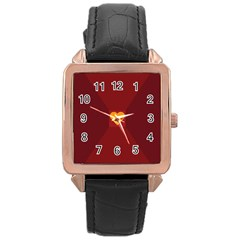 Heart Red Yellow Love Card Design Rose Gold Leather Watch