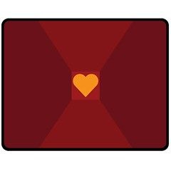 Heart Red Yellow Love Card Design Double Sided Fleece Blanket (Medium)