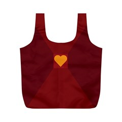 Heart Red Yellow Love Card Design Full Print Recycle Bags (m)