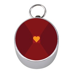 Heart Red Yellow Love Card Design Mini Silver Compasses