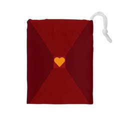 Heart Red Yellow Love Card Design Drawstring Pouches (large)