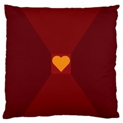 Heart Red Yellow Love Card Design Large Flano Cushion Case (two Sides)