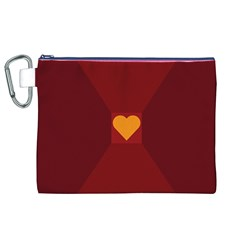 Heart Red Yellow Love Card Design Canvas Cosmetic Bag (xl)