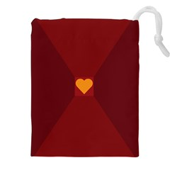 Heart Red Yellow Love Card Design Drawstring Pouches (xxl)