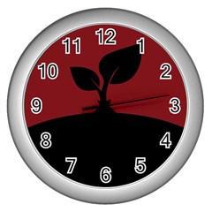 Plant Last Plant Red Nature Last Wall Clocks (Silver)