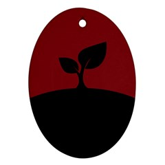 Plant Last Plant Red Nature Last Oval Ornament (two Sides)