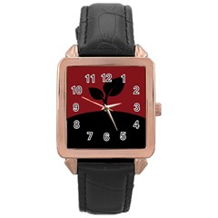Plant Last Plant Red Nature Last Rose Gold Leather Watch