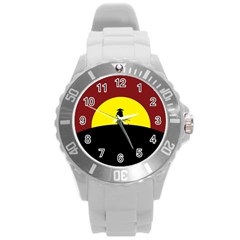 Samurai Warrior Japanese Sword Round Plastic Sport Watch (l)