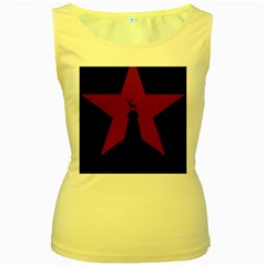 Buck Dear Animal Character Nature Women s Yellow Tank Top