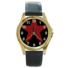 Buck Dear Animal Character Nature Round Gold Metal Watch