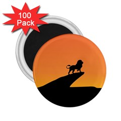 Lion Sunset Wildlife Animals King 2 25  Magnets (100 Pack)
