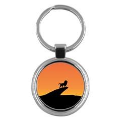 Lion Sunset Wildlife Animals King Key Chains (round)