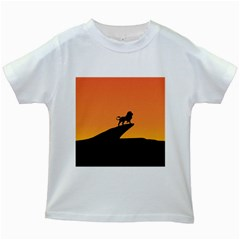 Lion Sunset Wildlife Animals King Kids White T Shirts
