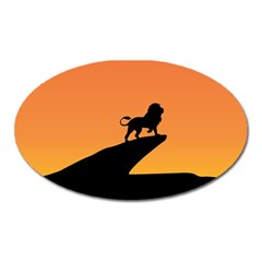 Lion Sunset Wildlife Animals King Oval Magnet