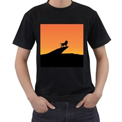 Lion Sunset Wildlife Animals King Men s T-Shirt (Black) (Two Sided)