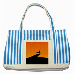 Lion Sunset Wildlife Animals King Striped Blue Tote Bag