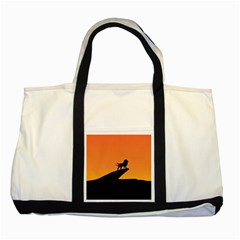 Lion Sunset Wildlife Animals King Two Tone Tote Bag