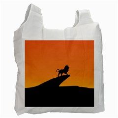 Lion Sunset Wildlife Animals King Recycle Bag (Two Side)