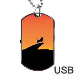 Lion Sunset Wildlife Animals King Dog Tag USB Flash (One Side)