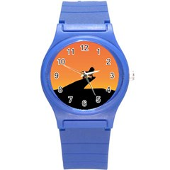 Lion Sunset Wildlife Animals King Round Plastic Sport Watch (S)