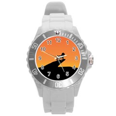 Lion Sunset Wildlife Animals King Round Plastic Sport Watch (l)
