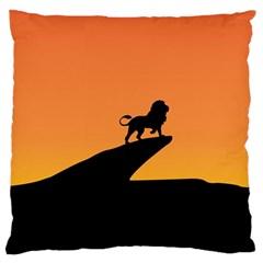 Lion Sunset Wildlife Animals King Large Cushion Case (two Sides)