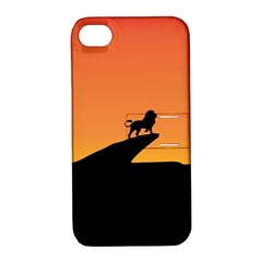 Lion Sunset Wildlife Animals King Apple iPhone 4/4S Hardshell Case with Stand