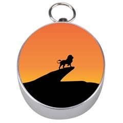 Lion Sunset Wildlife Animals King Silver Compasses