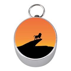 Lion Sunset Wildlife Animals King Mini Silver Compasses