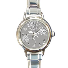 Flower Heart Plant Symbol Love Round Italian Charm Watch