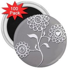 Flower Heart Plant Symbol Love 3  Magnets (100 pack)