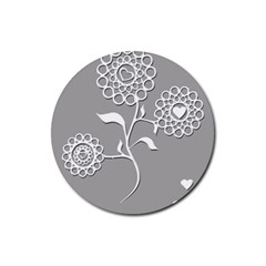 Flower Heart Plant Symbol Love Rubber Coaster (Round)