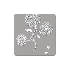 Flower Heart Plant Symbol Love Square Magnet