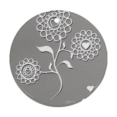 Flower Heart Plant Symbol Love Round Ornament (two Sides)