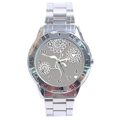 Flower Heart Plant Symbol Love Stainless Steel Analogue Watch