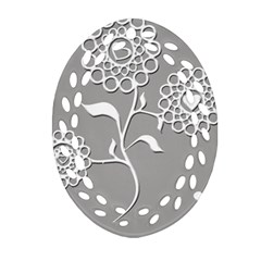 Flower Heart Plant Symbol Love Oval Filigree Ornament (Two Sides)