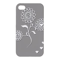 Flower Heart Plant Symbol Love Apple Iphone 4/4s Premium Hardshell Case