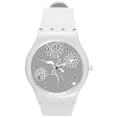 Flower Heart Plant Symbol Love Round Plastic Sport Watch (M)