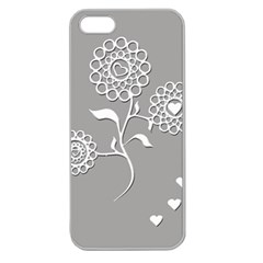 Flower Heart Plant Symbol Love Apple Seamless Iphone 5 Case (clear)