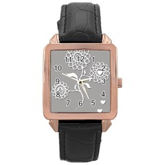Flower Heart Plant Symbol Love Rose Gold Leather Watch
