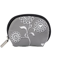 Flower Heart Plant Symbol Love Accessory Pouches (small)