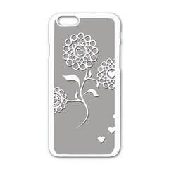 Flower Heart Plant Symbol Love Apple Iphone 6/6s White Enamel Case