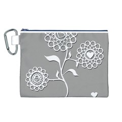 Flower Heart Plant Symbol Love Canvas Cosmetic Bag (l)