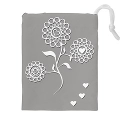 Flower Heart Plant Symbol Love Drawstring Pouches (XXL)