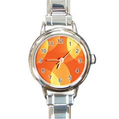 Abstract Orange Yellow Red Color Round Italian Charm Watch