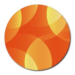 Abstract Orange Yellow Red Color Round Mousepads
